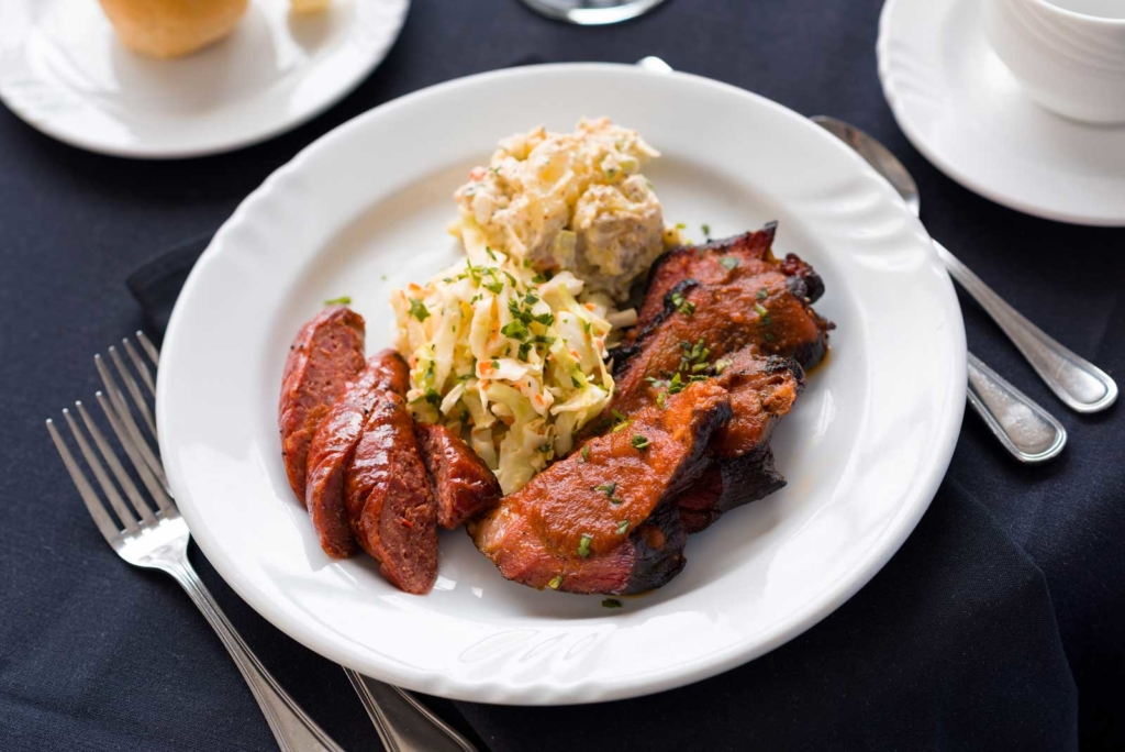 Catering by Norris delivers amazing meals for parties, weddings, dinners and all social occasions, Two Meat BBQ Plate with fresh cole slaw and potato salad
