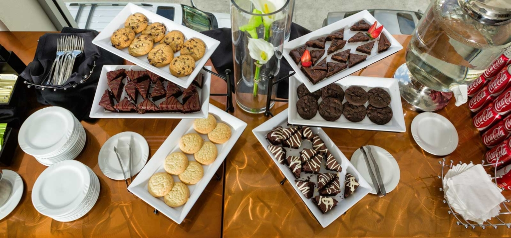 Afternoon Break Display from Catering by Norris, fresh cookies, cake triangles and brownies