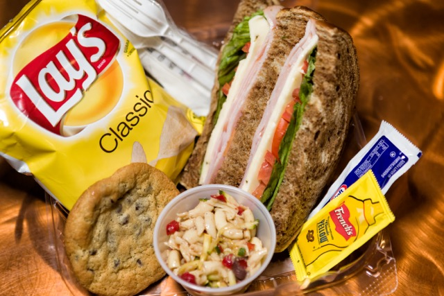 Catering by Norris delivers a fresh, delicious boxed lunch, Carved Turkey Sandwich, Pasta Salad, chips, condiments and a fresh cookie