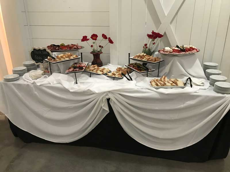 Catering By Norris, Polski Table with meats, cheeses and a variety of breads