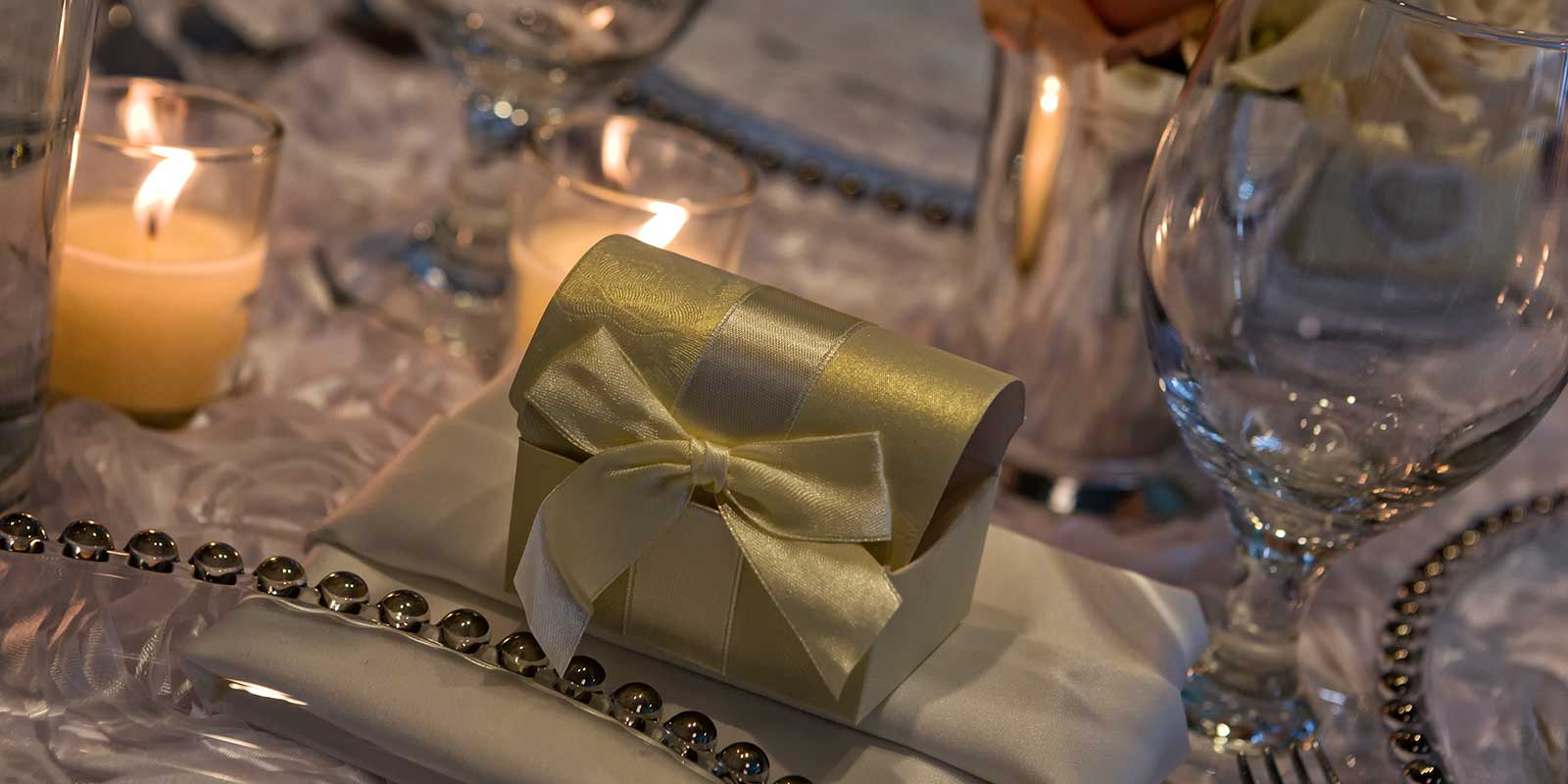 Fancy Wedding table detail at Catering By Norris event