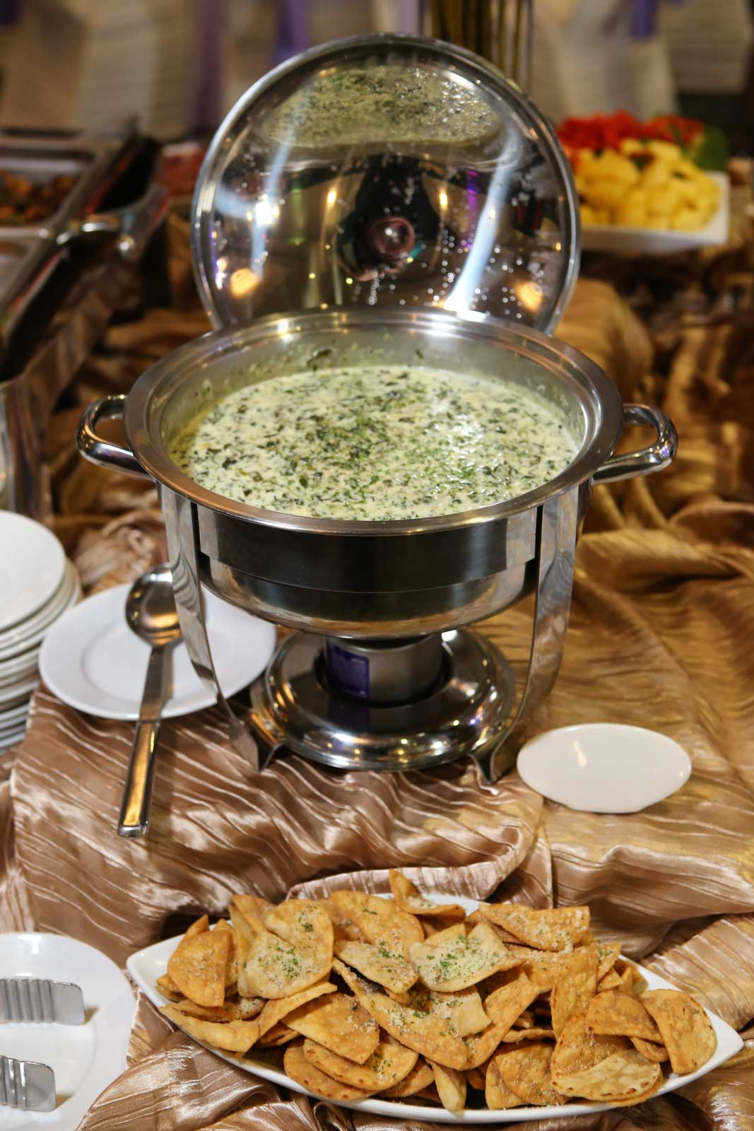 Hot Dips with crostini and crackers from Catering By Norris