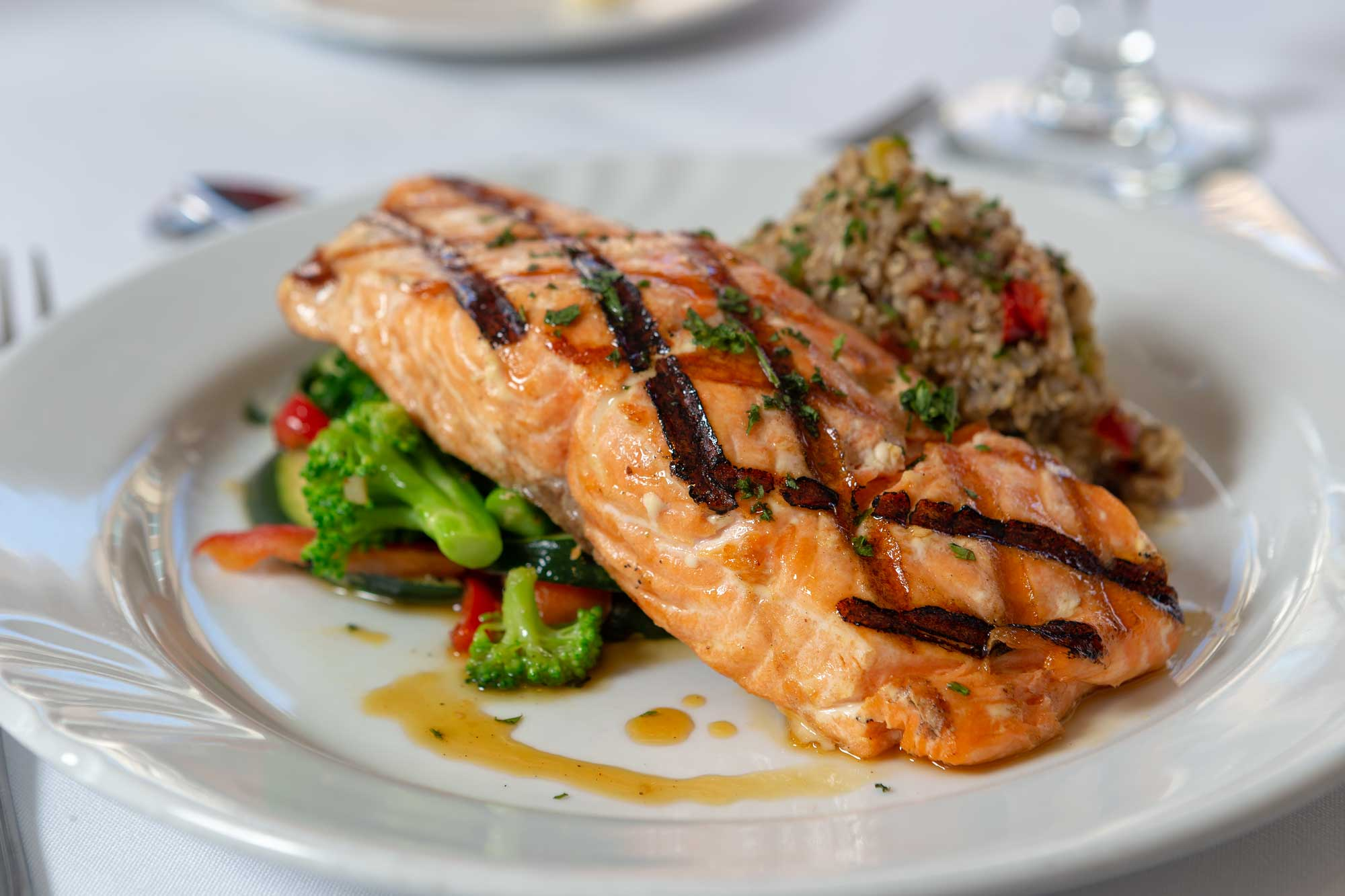 Fresh grilled salmon from Catering By Norris